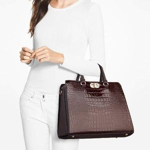 Croc Embossed Satchel SET